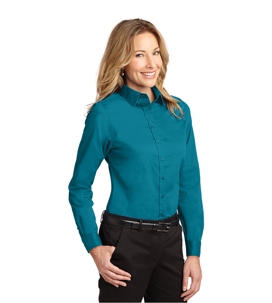 Women's Dress Shirt Teal Model Front