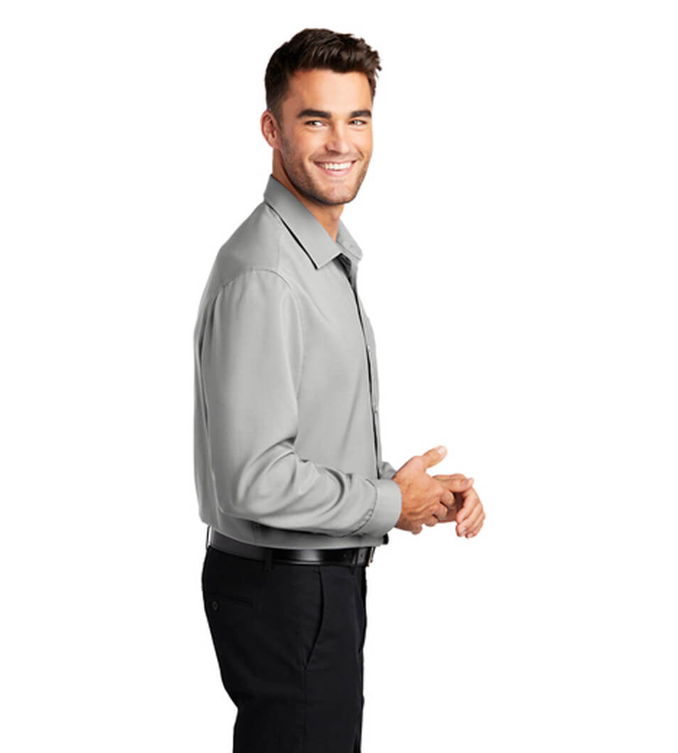 Men's Long Sleeve Performance Shirt Silver