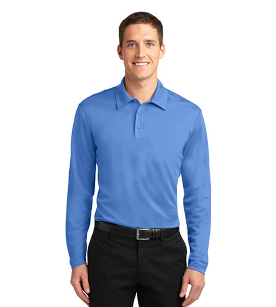 Men's Silk Touch Performance Long Sleeve Polo Carolina Blue