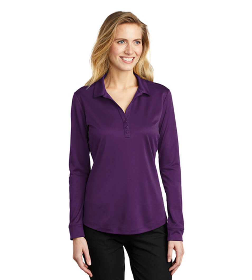 Women's Silk Touch Performance Long Sleeve Polo Bright Purple