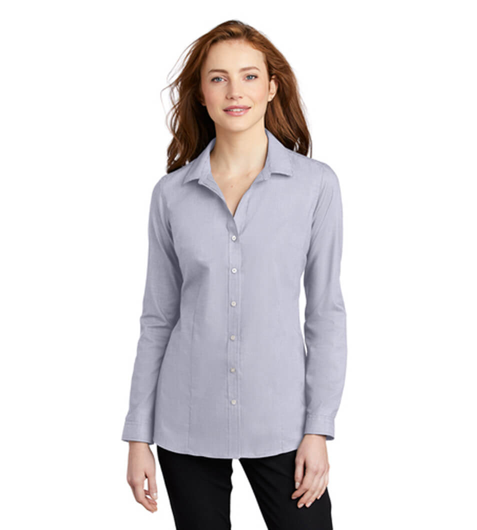 Women's Pincheck Easy Care Shirt Gusty Grey/White