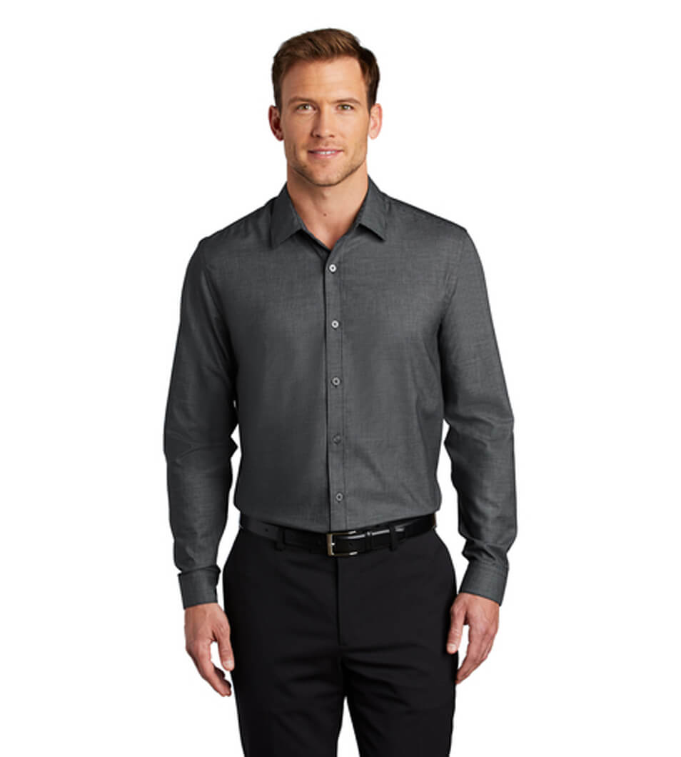 Men's Pincheck Easy Care Shirt Black/Grey Steel
