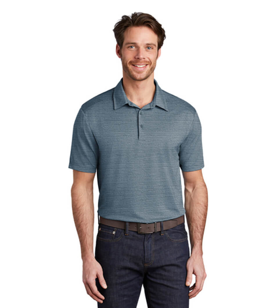 Men's Stretch Heather Polo Regatta Blue/Gusty Grey