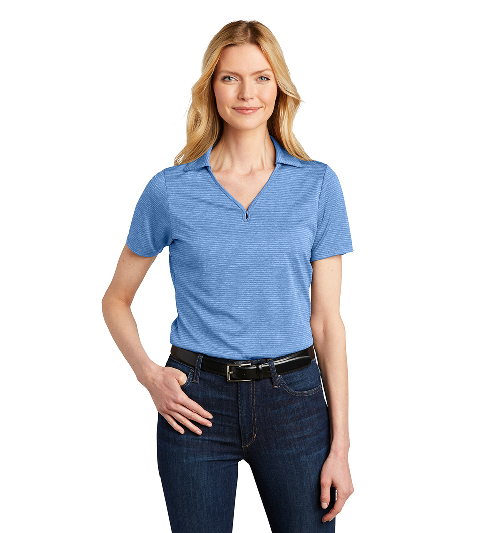 Women's Shadow Stripe Polo Carolina Blue Model Front