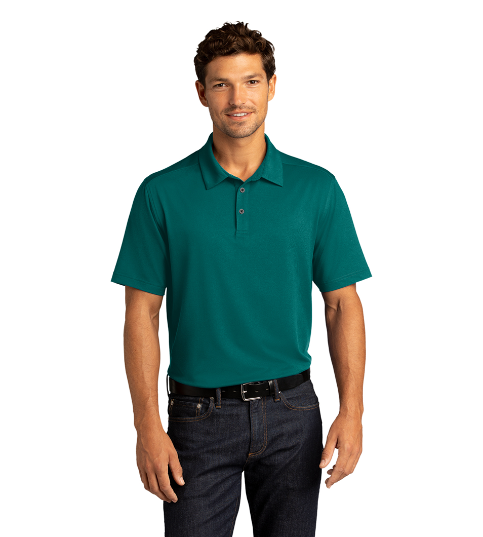 Men's City Stretch Polo Dark Teal Model Front