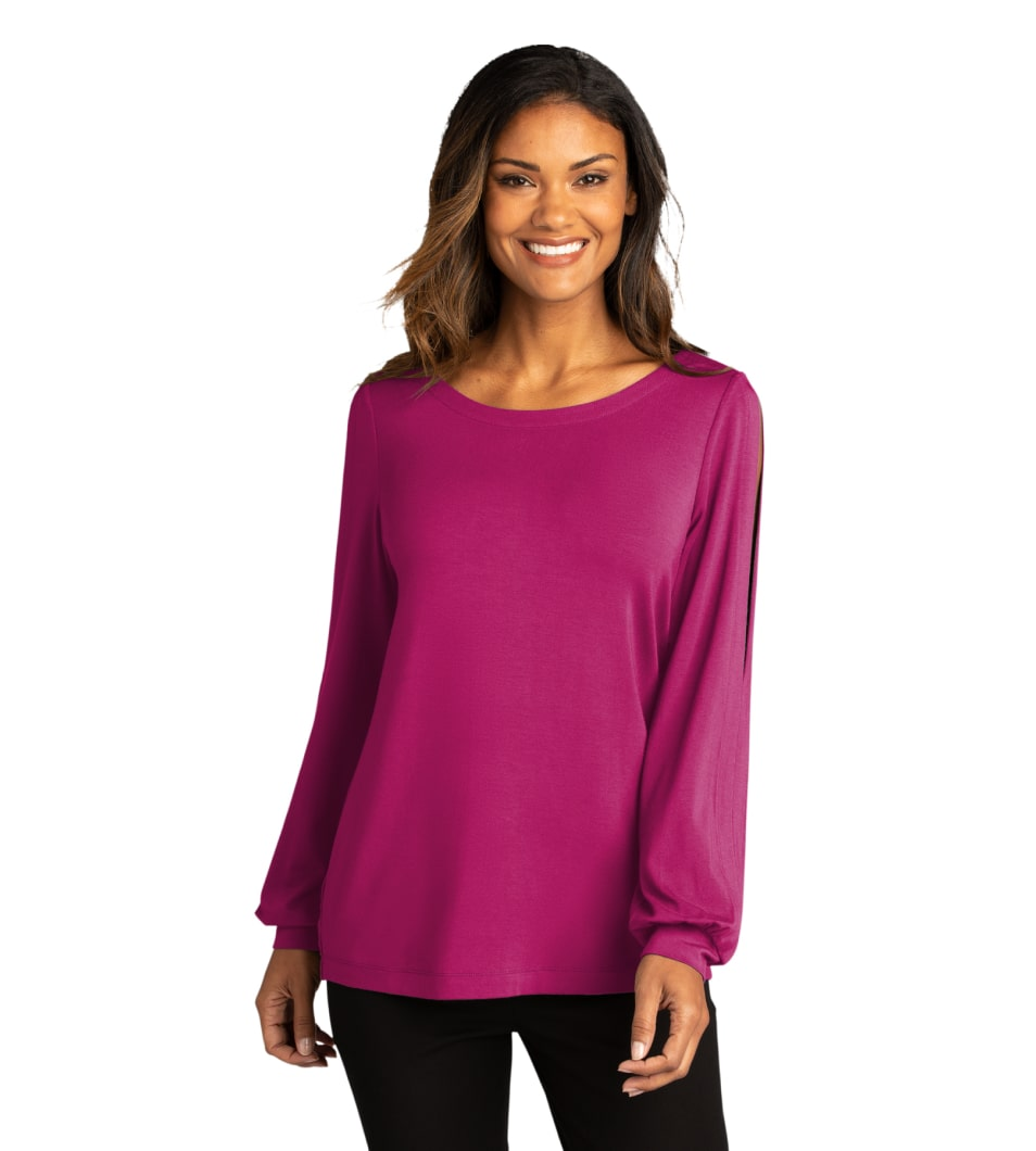 Women's Luxe Knit Jewel Neck Top WildBerry Model Front