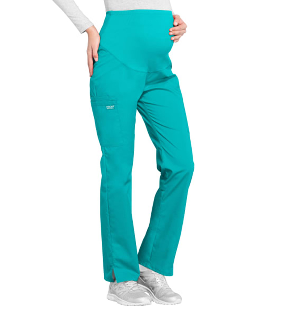 Maternity Cargo Pants Teal Blue
